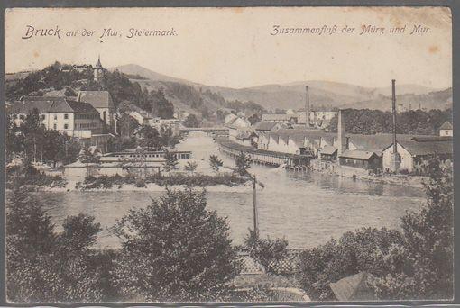 Bruck an der Mur, Steiermark. Zusammenfluß der Mürz und Mur.