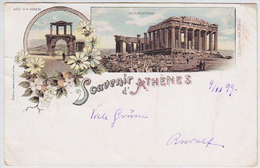 Souvenir d`Athènes. Arc d`Adrien. Le Parthenon.