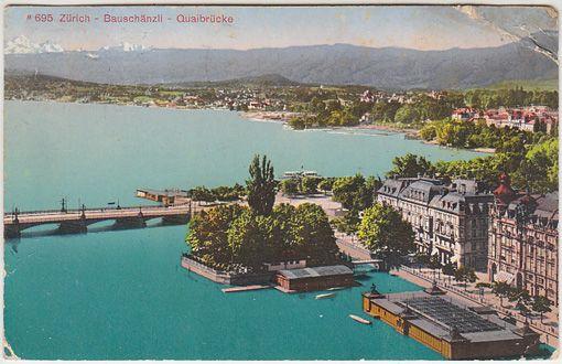 Zürich - Bauschänzli - Quaibrücke.