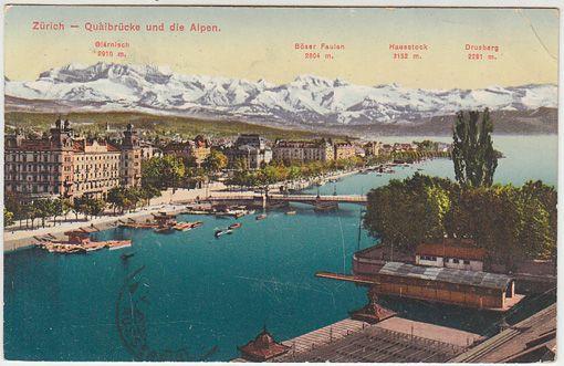 Zürich - Quaibrücke und die Alpen. Glärnis 2910 m. Böser Faulen 2804 m. Hausstock 3152 m. Drusberg 2281 m.