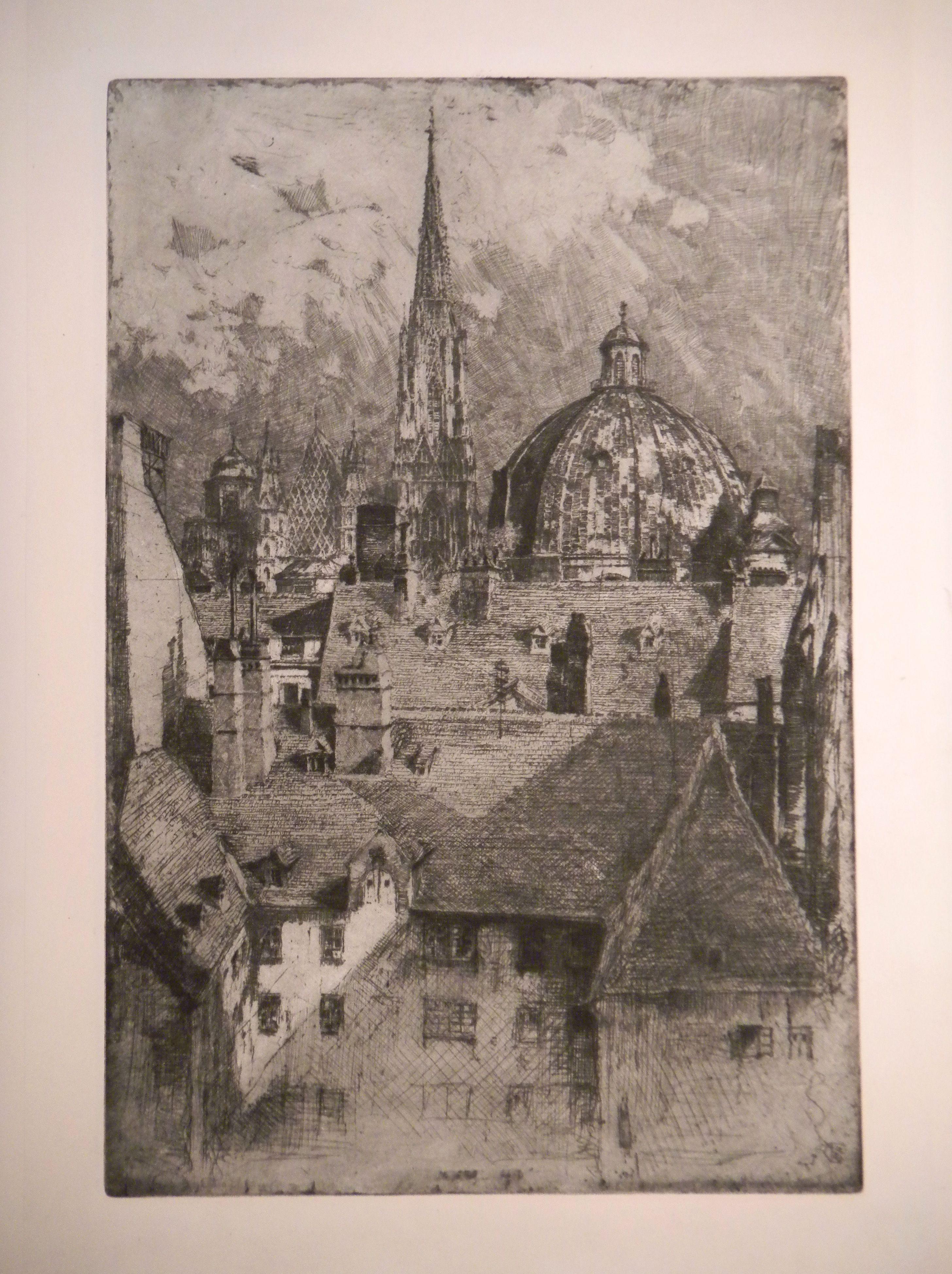 KASIMIR, Luigi. Graphiker (1881-1962). [Wien - Stephansdom - Peterskirche - Dächer].