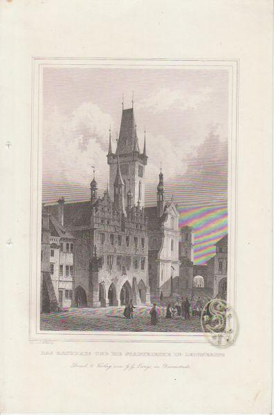 Das Rathhaus und die Stadtkirche in Leitmeritz.