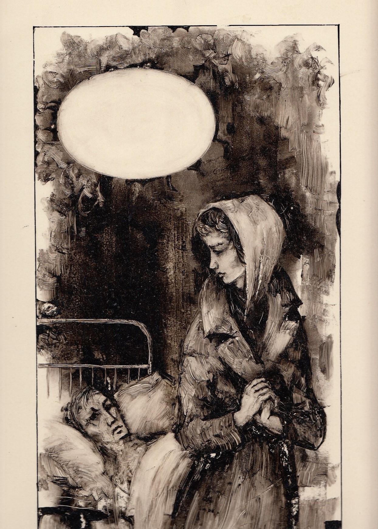 Orig.Tuschzeichnung. [Frau verläßt kranken Mann]. 23 x 38 cm Blattgröße.