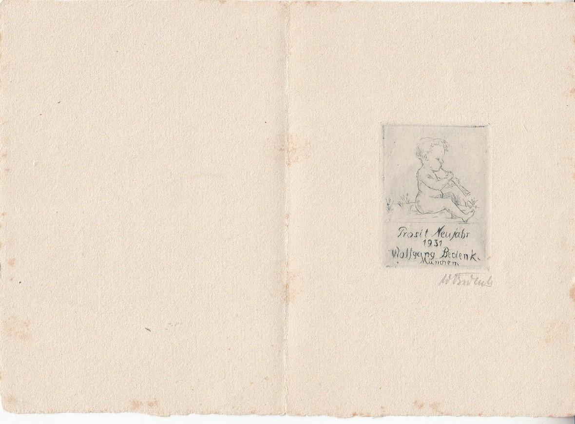 Orig.Radierte Glückwunschkarte Neujahr 1931. 10 x 14,5 cm. Signiert.