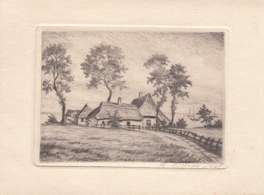 Orig.Radierung. Reetgedeckte Häuser vor Gewässer mit Segelschiffen. Signiert R. Hileterad (??). ca 1930.