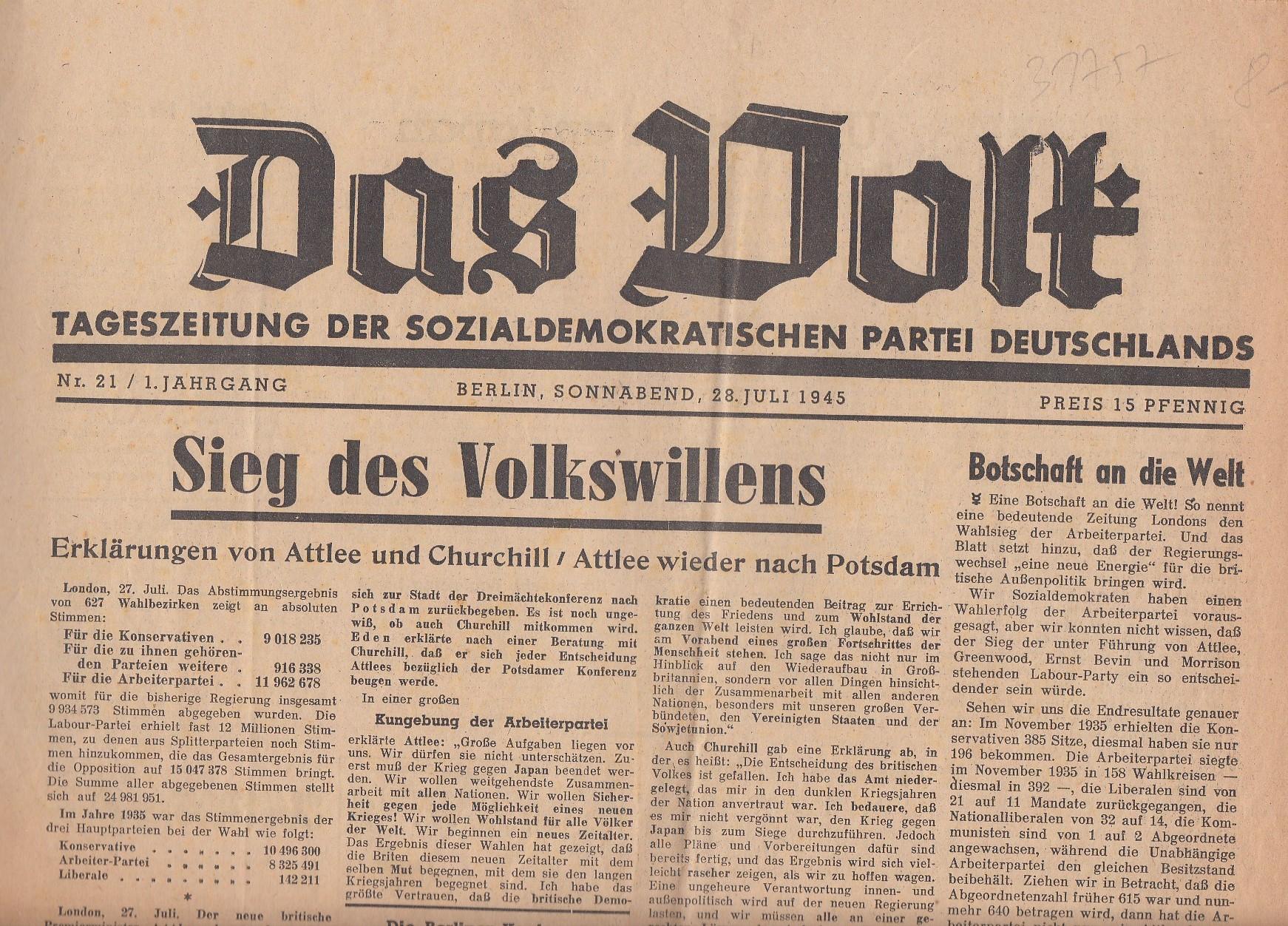 Das Volk. Tageszeitung der SPD.