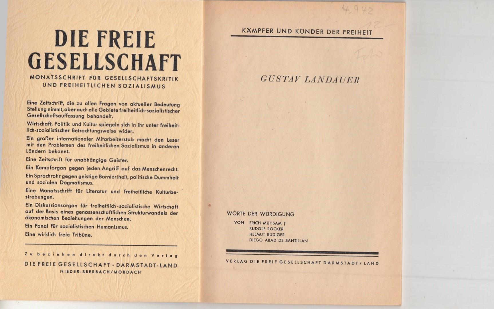 Gustav Landauer. Worte der Würdigung.