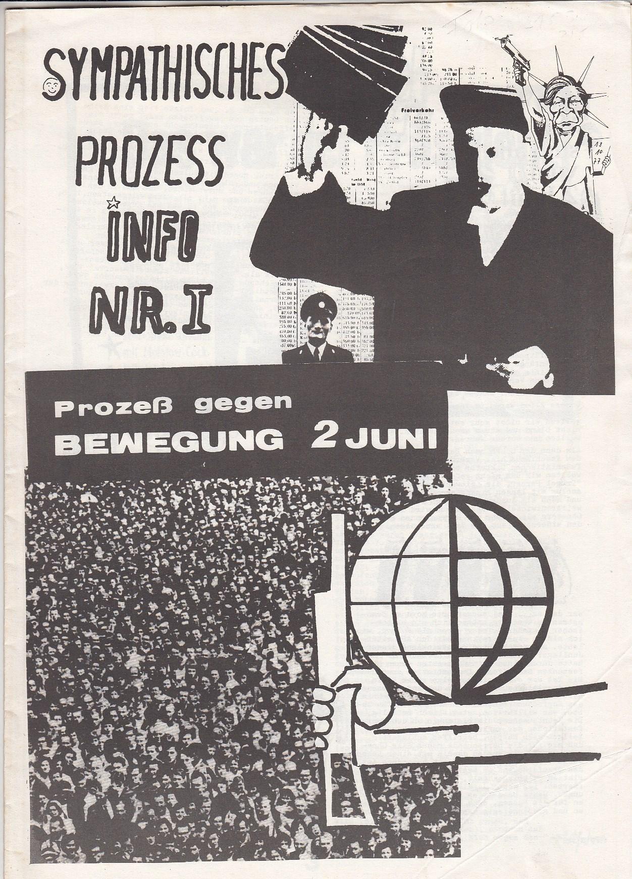 Sympathisches Prozeß-Info Nr. 1. Prozeß gegen Bewegung 2. Juni.