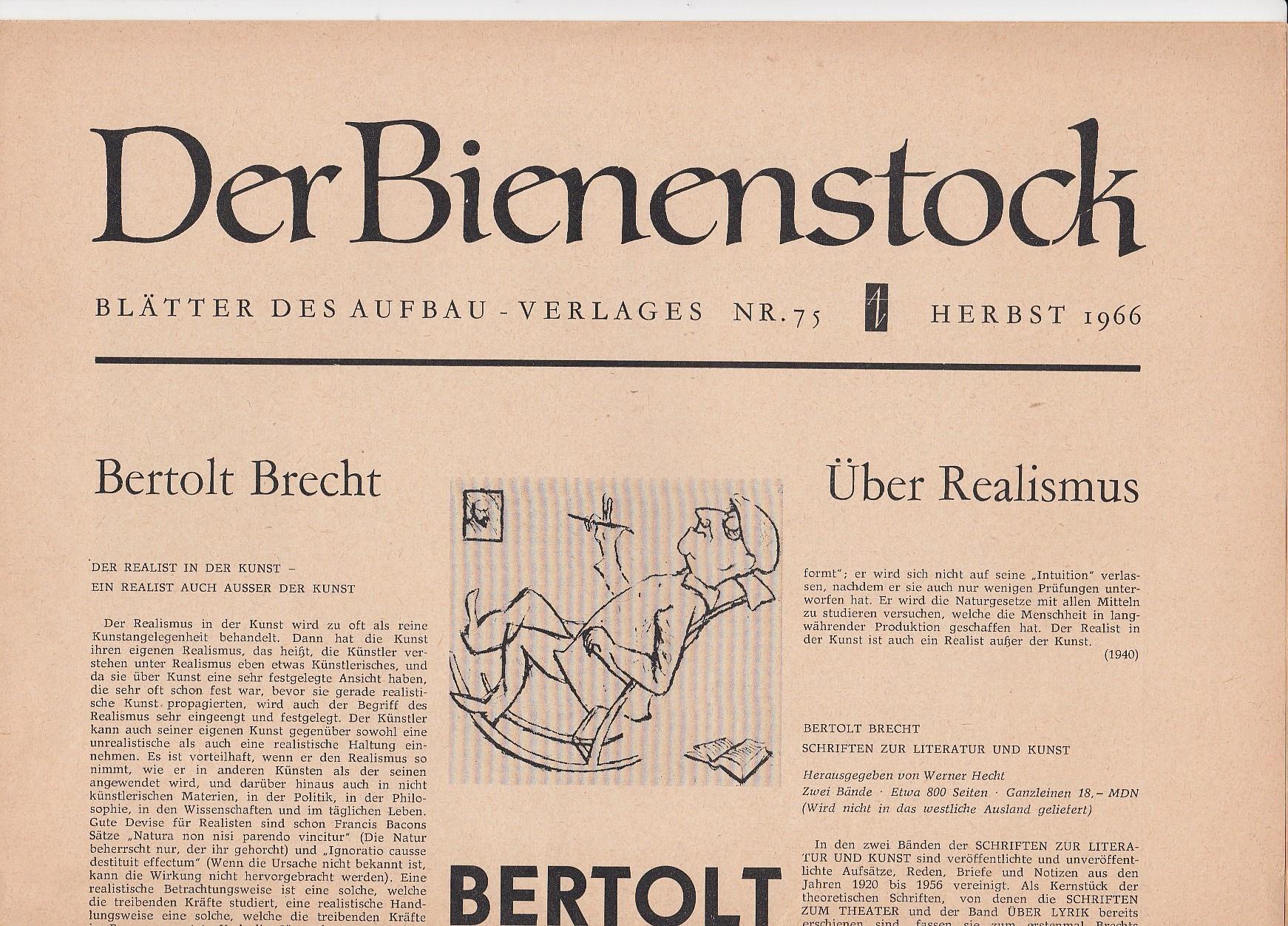 Der Bienenstock. Blätter des Aufbau-Verlages [ später: Blätter des Aufbau-Verlages Berlin und Weimar und des Verlages Rütten & Loening Berlin.]