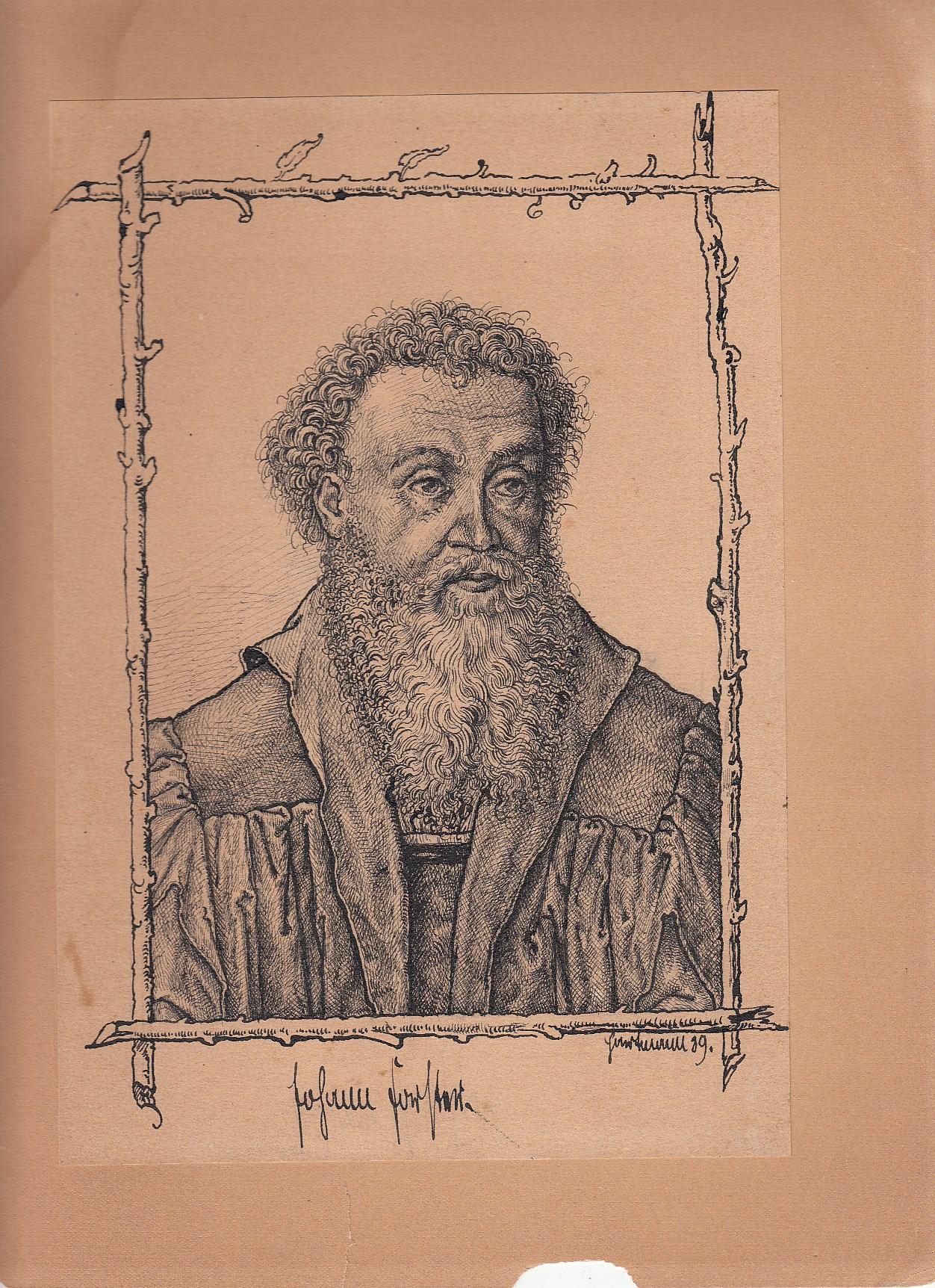 Porträt des Reformators Johann Forster (Ioannes Forsterus, Förster oder Forstheim), 1496 Augsburg-1558 Wittenberg. Originalfederzeichnung nach einem alten Kupferstich. Unten rechts unleserlich signiert.