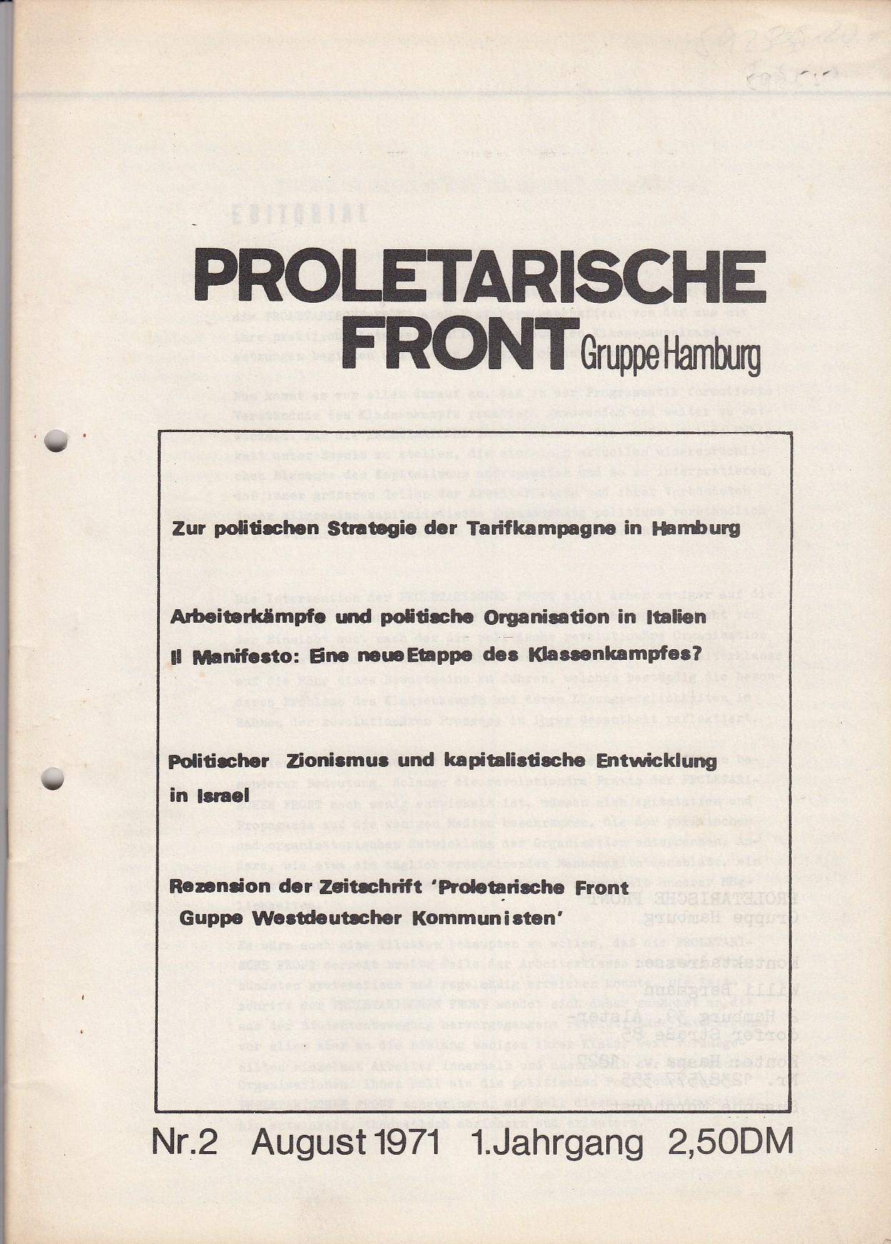 Proletarische Front. Gruppe Hamburg. Nr.2, August 1971. Kontaktadresse Willi Bergmann, Susanne Mordhorst
