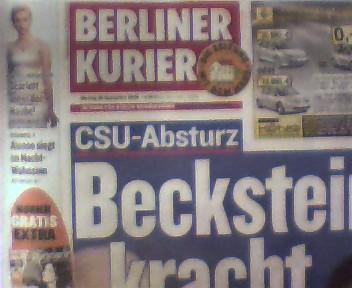 Berliner Kurier vom 29. September 2008, Zeitung für Berlin und Brandenburg, gutes Exemplar,