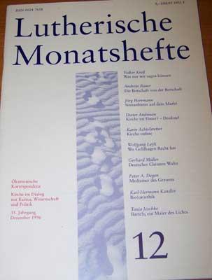 Lutherische Monatshefte, 34. Jahrgang, 9, September 1995, Adress-Aufdruck auf dem hinteren Heftdeckel oben, ansonsten gutes Exemplar,