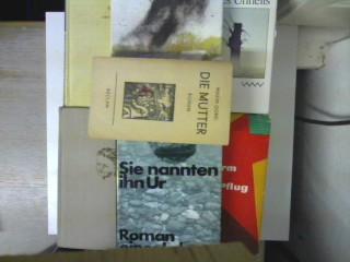 """6 Bücher der großen russischen Autoren Maxim Gorki, Daniil Granin, Michail Scholochow, A.S. Makarenko, Juri Bondarew und Wassil Bykau: 1. """"Die Mutter"""" (1960) / 2. """"Sie nannten ihn Ur"""" (1988) / 3. """"Neuland unterm Pflug - Erster Teil"""" (1961) / 4. """"Flaggen a"""
