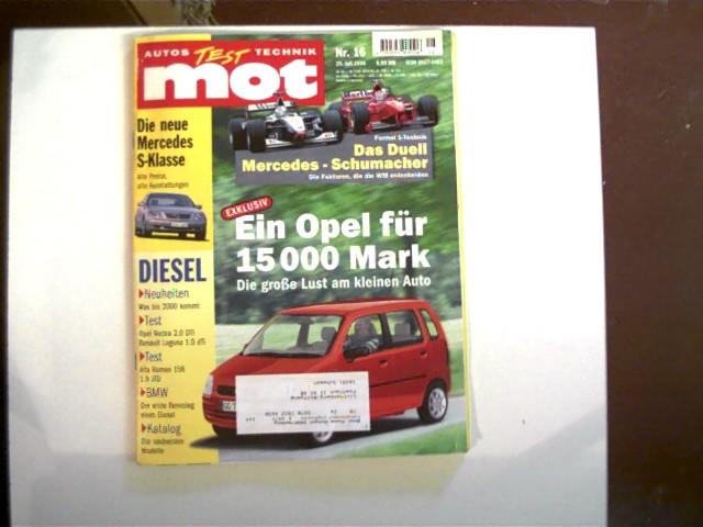 mot - Autos Test Technik: Nr.16 - 25. Juli 1998; Heftdeckel mit leichten Gebrauchsspuren und Aufkleber vorn, Ecken und Kanten gering abgenutzt, ansonsten gutes Exemplar,