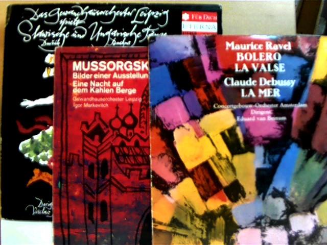 6 Klassik-Schallplatten: 1. Deine Wunschmelodie (1970) / 2. Musik für dich (1973) / 3. Liebestraum (1970) / 4. Maurice Ravel - Bolero + Claude Debussy - La mer (1972) / 5. Mussorgski - Bilder einer Ausstellung + Eine Nacht auf dem Kahlen Berge (1974) / 6.