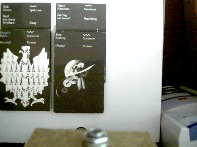 4 Bücher in dieser seltenen Sammlung: 1. Orange (Jytte Borberg) / 2. Ein Tag am Strand (Heere Heeresma) / 3. Karussell (Eustachy Rylski) / 4. Brief aus einem Steinnhaus (Brikt Jensen), , Konvolut Bücherpaket, die Deckelränder haben leichte Gebrauchsspuren, bei allen Exemplaren Stempel und Namenszug auf der Titelseite, ansonsten altersentsprechend gute Exemplare,