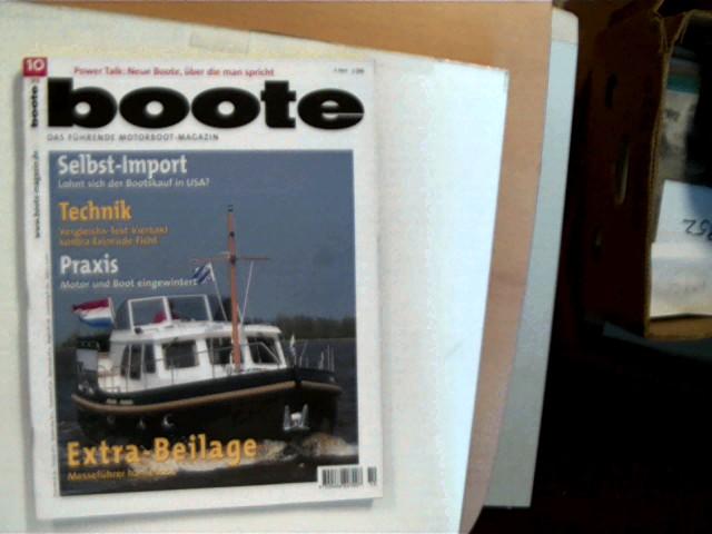 boote - Das Motorboot-Magazin - Oktober 1999, Die Nr.1 bei den Motorbootfahrern, Heftdeckel mit minimalen Gebrauchsspuren, Ecken leicht bestoßen, ansonsten gutes Exemplar,