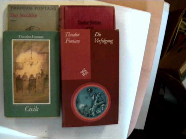 4 Bücher von Theodor Fontane in dieser seltenen Sammlung: 1. Der Stechlin (Goldmann Band 1579-1580), 2. Cécile, 3. Effi Briest, 4. Die Verfolgung, , Konvolut Bücherpaket,
