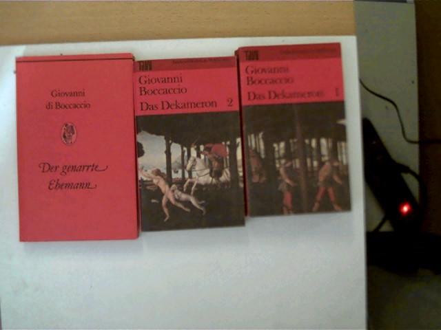 3 Bücher vom Autor Giovanni Boccaccio in dieser seltenen Sammlung: 1. Der genarrte Ehemann, 2. Das Dekameron 2, 3. Das Dekameron 1, , Konvolut Bücherpaket, Buchdeckel mit leichten Gebrauchsspuren, ansonsten altersentsprechend gute Exemplare,