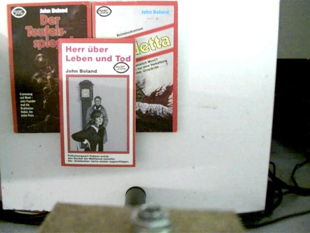 """3 Bücher von John Boland aus der Reihe """"super krimi"""" in dieser seltenen Sammlung: 1. Herr über Leben und Tod, 2. Vendetta, 3. Der Teufelsspiegel, , Konvolut Bücherpaket, roter Paperback,"""