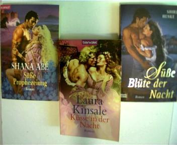 3 Bücher --- Liebesgeschichten, ---- 1. Süße Prophezeiung von Shana Abe, ---- 2. Küsse in der Nacht von Laura Kinsale, ---- 3. Süße Blüte der Nacht von Shirl Henke, , Konvolut Bücherpaket, Romane, 3x Paperback,