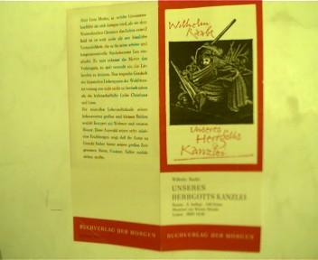 Flyer zu Wilhelm Raabe - Unseres Herrgotts Kanzlei und Leopold Kompert - Christian und Lea,