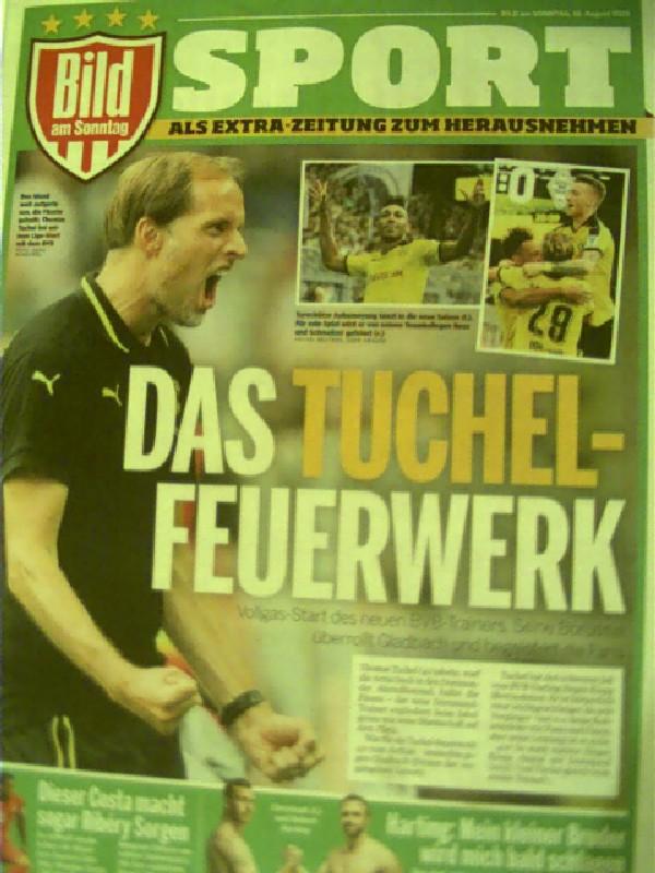 Das Tuchel-Feuerwerk - BVB zerlegt Gladbach in 18 Minuten... Bild am Sonntag, 16. August 2015; hier die Beilage SPORT als Extrazeitung, Als Extra-Zeitung zum Herausnehmen,