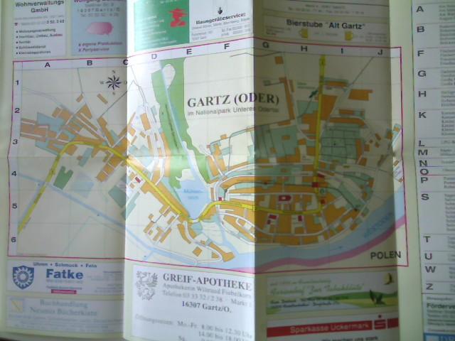 Stadtkarte (von) - Gartz (Oder) im Nationalpark Unteres Odertal, Stadtkarte, wohl die 1. Auflage