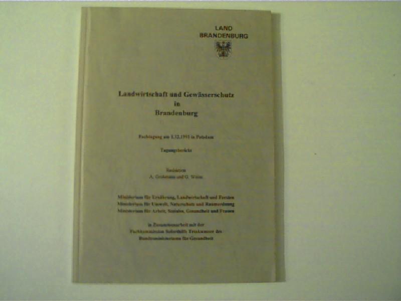 Landwirtschaft und Gewässerschutz in Brandenburg (Fachtagung am 01.12.1993 in Potsdam) - Tagungsbericht,