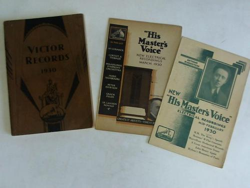 Catalog of Victor Records 1930 with Biograph Material, Opera, Notes Artists`Portraits, and Special red Seal section