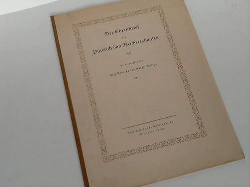 Behrend, Fritz / Wolkan, Rudolf (Hrsg.)  Der Ehrenbrief des Püterich von Reichertshausen
