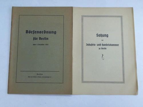 Börsenordnung für Berlin vom 4. Dezemberg 1934