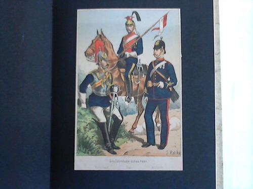 Englische Uniformentafeln. 5 aufgezogene Lithographien, davon 3 coloriert (18 cm x 12 cm)