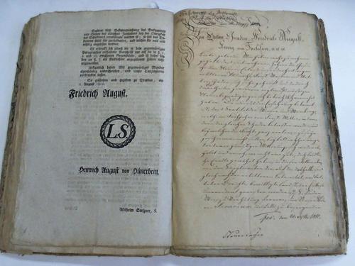 Sammelband mit 71 Erlassen von Friedrich August, Herzog zu Sachsen, Jülich, Cleve, Berg, Engen und Westphalen etc., 1801-1818