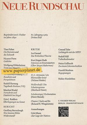 Neue Rundschau . Jahrgang 80, 1969, Drittes Heft .