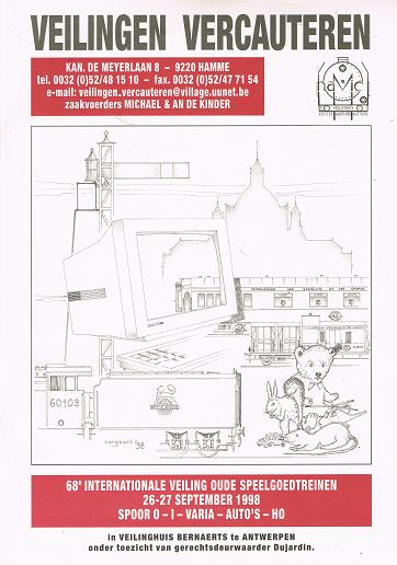 Veilingen Vercauteren: 68e Internationale Veiling oude Speelgoedtreinen, 26-27 September 1998 .