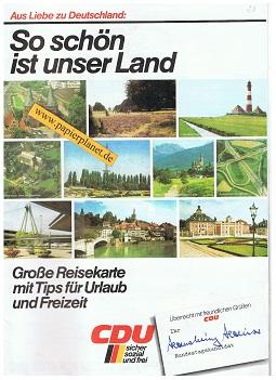 Aus Liebe zu Deutschland: So schön ist unser Land . Große Reisekarte mit Tips für Urlaub und Freizeit CDU sicher sozial und frei