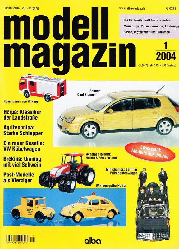 modell magazin 2004 Nr. 1 (Fachzeitschrift für alle Autominiaturen: Personenwagen, Lastwagen, Busse, Motorräder und Dioramen)