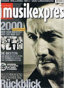 Musikexpress 2001 Heft 1 Robbie Williams  Witt  Udo Lindenberg