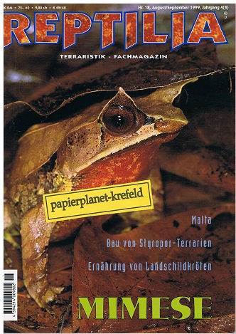 Reptilia 1999 Nr. 18 Mimese, Bau von Styropor-Terrarien, Terraristik-Fachmagazin