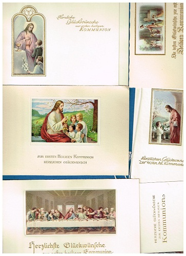 6 alte Glückwunschkaten zur ersten heiligen Kommunion