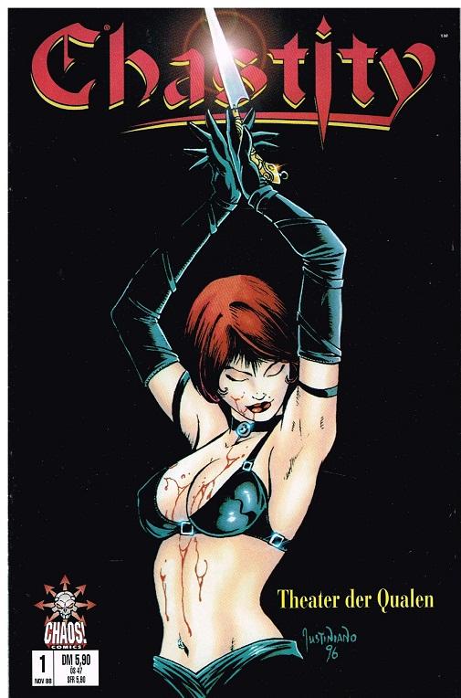 Pulido, Brian und Justiniano: Chastity 1, Theater der Qualen , Variant-Cover, Nov. 1998 , Chaos ! Comics. Comic-Heft DEV