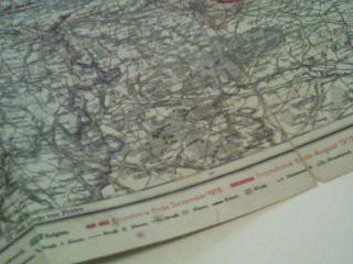 Flemmings Spezialkarte der nördlichen Westfront 1 : 320 000, Frontverlauf Ende Dezember 1916 und Anfang August 1917