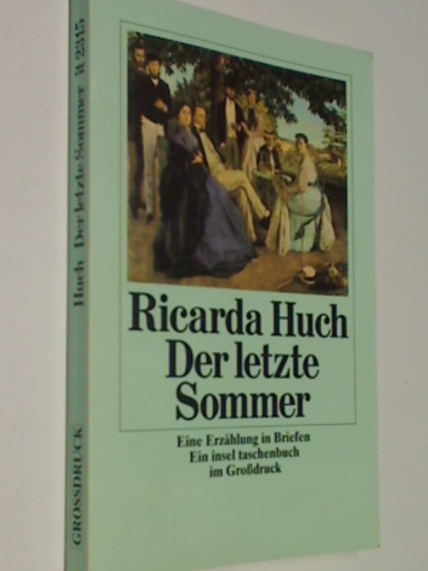 Der letzte Sommer Eine Erzählung in Briefen, GROSSDRUCK, 1. Auflage 1990 insel taschenbuch it 2315, 3458340157,  9783458340157