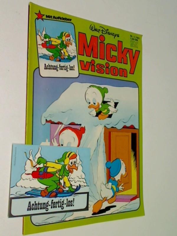 Mickyvision 1981 Nr. 1 mit Sticker ; Onkel Dagobert, Strolchi,  Panzerknacker, Disney Ehapa Comic-Heft
