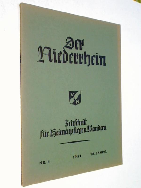 Der Niederrhein. 1951, Heft 4 Tabak am Niederrhein,  Zeitschrift für Heimatpflege und Wandern.