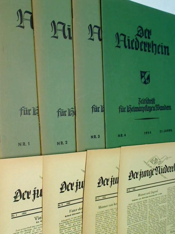 Der Niederrhein. 1954 Heft 1, 2, 3, 4  + Der junge Niederrhein 1-4, Zeitschrift für Heimatpflege und Wandern.