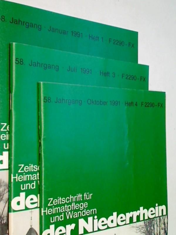 Der Niederrhein. 1991 Heft  1, 3, 4 Krieg, Kapitulation und Neibeginn im Kreis Kempen-Krefeld,  Zeitschrift für Heimatpflege und Wandern.