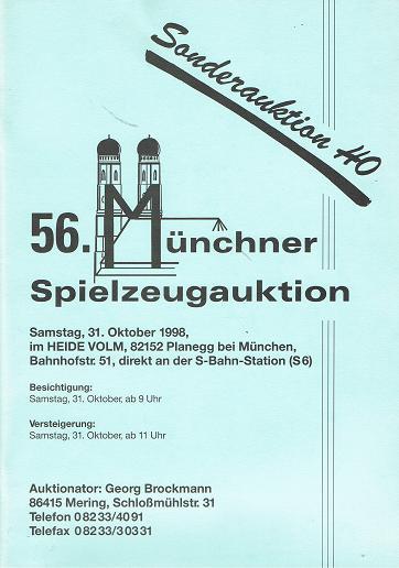 56. MÜNCHNER SPIELZEUGAUKTION: 31. Okt. 1998.